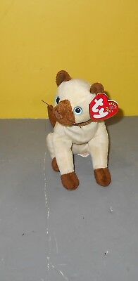 "Siam Retired 2001 TY Beanie Babie 7"" Siamese sitting Kitty Cat Bean Plush"