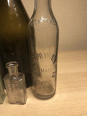 CE Haveners Rockland Maine Whittled Crowntop Embossed Soda Bottle Very Nice!