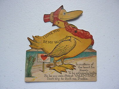 """Vintage """"I Love You DUCKY"""" Mechanical Valentines Day Card"""