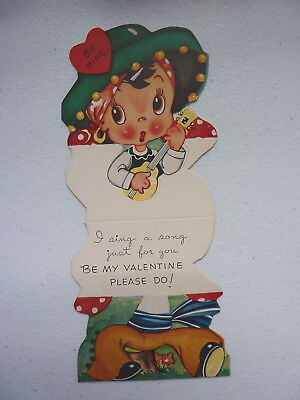 """Vintage A-MERI-CARD """"I Sing A Song Just For You"""" Foldable Valentines Day Card"""