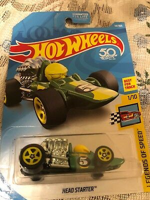 HOT WHEELS 2018 LEGENDS OF SPEED TOONED HEAD STARTER F1 EURO SHORT CARD #14//365!