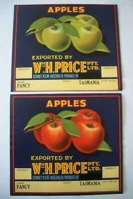 2 Vintage Box Crate Apple Labels W Price NSW Different Australia