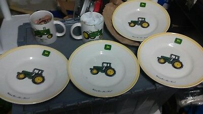 "John Deere Set Of 4-11"" Dinner Plates ""nothing Runs Like A Deere"" By Gibson + 2."