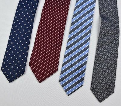 "Lot X 4 Hugo Boss Mens 3 Skinny Silk Tie 's 60"" X 3"" Made in Italy"