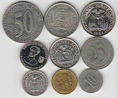 9 different world coins from ECUADOR