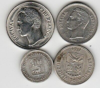 4 different world coins from VENEZUELA