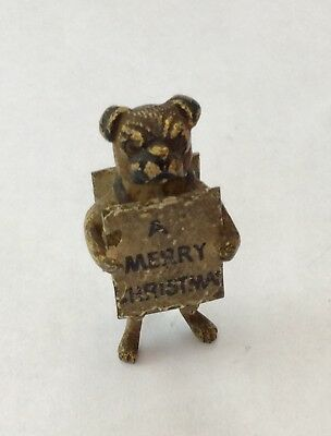 Vintage Austrian Cold Painted Bronze Xmas  Comical PUG DOG With Sandwich Board