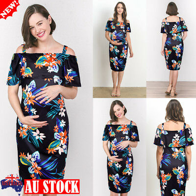 Pregnant Women Off Shoulder Strappy Dress Maternity Nursing Floral Casual Dress