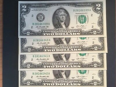 4  X  2013  US Two dollar banknotes. Unc. & Cons.
