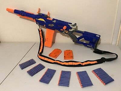 Nerf longstrike cs 6 Sniper Rifle + Rare Scope + bandolier 18 Clip 60 Darts.