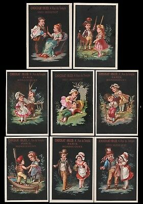8 CHROMOS - Couples d'enfants - Lith. Baster&Vieillemard - 98x65 mm