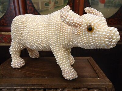 Authentic Cultured Pearl Ox Statue
