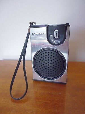 Vintage 1970's Rambler Full Circuit Super AM Transistor Radio in White. Works.