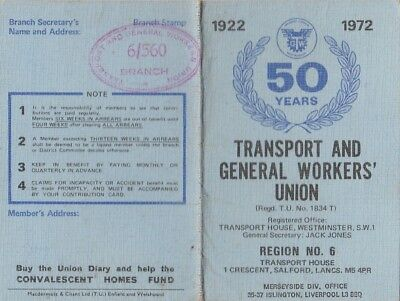 Transport & General Workers Union 50 Years 1922-72 Card Liverpool Gigboats