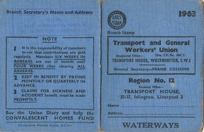 Transport & General Workers Union 1963 Card Waterways 12/60 Branch Liverpool