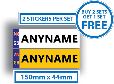 2 x Childrens Number Plates Stickers Kids Ride On Cars 150mm x 44mm Personalised
