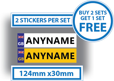 2 x Childrens Number Plates Stickers Kids Ride On Cars 124mm x 30mm Personalised