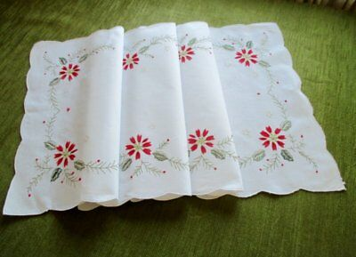 PRETTY CHRISTMAS TABLE RUNNER with EMBROIDERED DECORATION