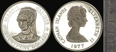 Cayman Islands: 1977 Queen Mary I $25 Large Silver Proof, 1.52oz Silver