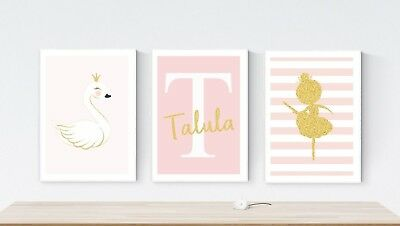 3 Swan Ballerina Personalised Nursery Name Prints Wall Art Pictures FAUX Glitter