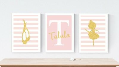 3 Ballerina Shoe Personalised Nursery Name Prints Wall Art Pictures FAUX Glitter