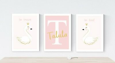 3 Princess Swan Personalised Nursery Quote Prints Wall Art Pictures FAUX Glitter