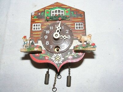 Vintage Miniature Cuckoo Type Clock Wooden Case Brass Movement Hand Painted