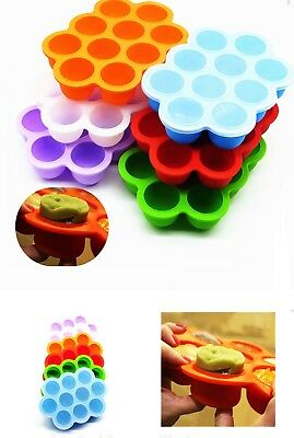 7 Cavity Freezer Safe Silicone Baby Food Storage Tray with Plastic Lid