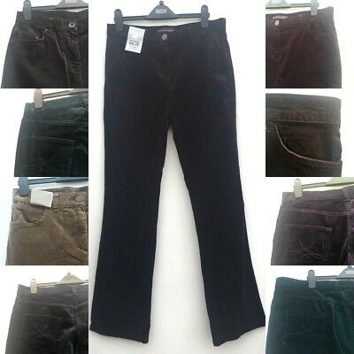 Ladies Ex M&S Corduroy Fine Cord Trousers Bootleg Or Straight Leg Sizes 6-24 NEW