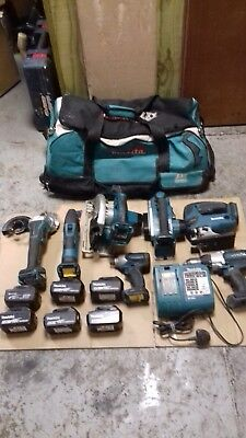 Makita 18V Lithium 7 Piece Combi Kit In Holdall  + 6 Batteries And Charger