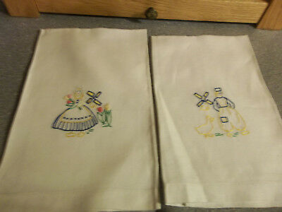 Vintage Embroidered Gues Towels Dutch Boy and Girl
