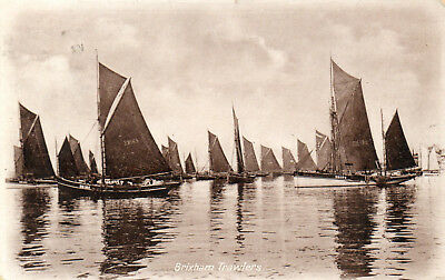 """""""BRIXHAM TRAWLERS"""" OLD REAL PHOTO POSTCARD Posted 1913?"""