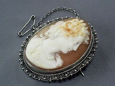 Fine Antique Victorian 800 Silver Filigree Mounted Carved Shell Cameo Brooch