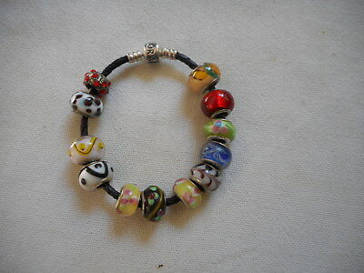 Authentic PANDORA bracelet with sterling murano glass charms