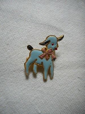 Vintage cute enamel lam sheep with a bell pin