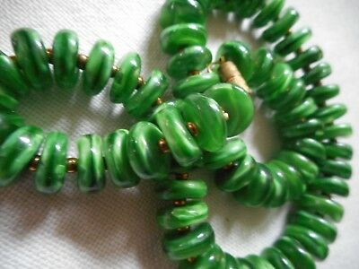 Vintage Jade MURANO GLASS disks necklace, rare