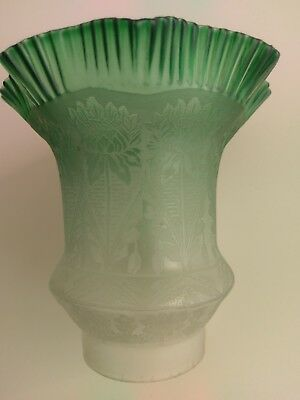 Victorian Green Glass Etched Oil Lamp Shade Original Antique
