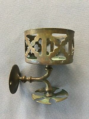 Antique Brass Wall Mounted Cup Glass Tumbler Toothbrush Holder Old Vtg 140-18J