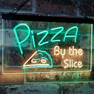 Pizza by the Slice Shop Bar Dual Color Led Neon Sign st6-i2004