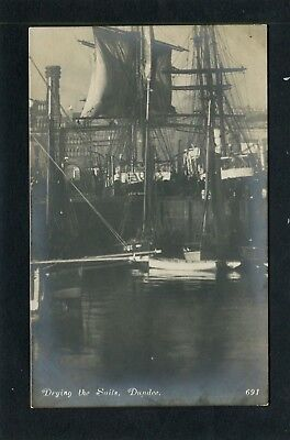 Dundee - Drying Sails in Harbour RP c1910