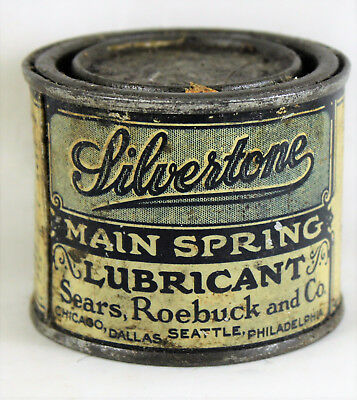 Can of Silvertone Main Spring Phonograph Lubricant by Sears, Roebuck & Co.