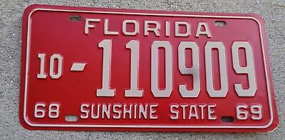 Florida 1969  license plate #  10 - 110909