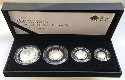 2010 Royal Mint Silver Proof Britannia Four Coin Set Cased & COA