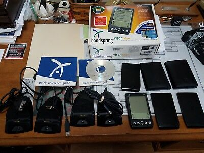 Handspring Visor Deluxe + Accessories Graphite USB Charger Used Open Box