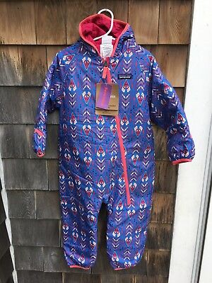 NWT $99 baby PATAGONIA boys PUFF-BALL bunting REVERSIBLE 0 3 6 months NEW blue
