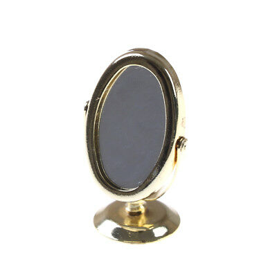 Miniature Oval Swing Dressing Mirror in Brass Stand Dolls House Accessories TK