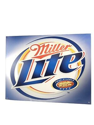 2002 Miller Lite Brushed Metal Advertising Beer Sign Made in the USA