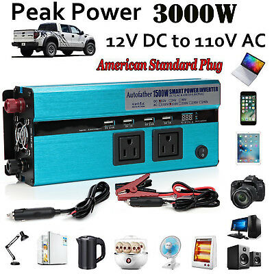 Auto Car Truck Power Inverter DC 12V to AC 110V Converter Charger For Electronic