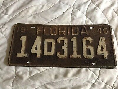 1946 Florida License Plate 14D 3164