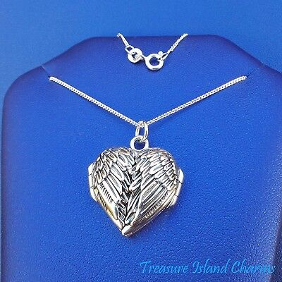 """Angel Wings Heart Locket Pendant .925 Solid Sterling Silver Necklace 16"""" or 18"""""""